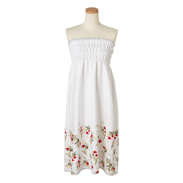 FLOWER Printed Bath Dress White