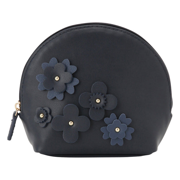 FLOWER Motif Shell Pouch Navy