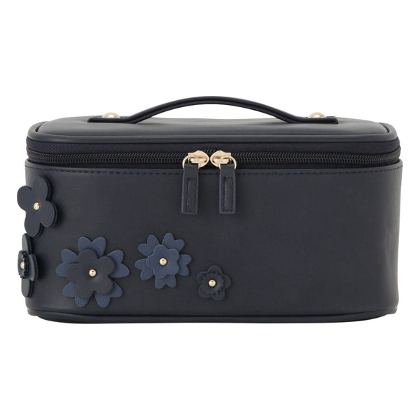 FLOWER Motif Vanity Case Navy