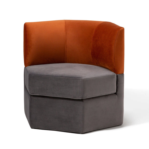 GRUPA Sofa 1S Orange x Gray (W740 × D650 × H685)