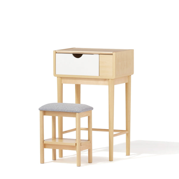 FORET DRESSER & STOOL Natural x White (W500 × D350 ~ 375 × H800 ~ 1095)