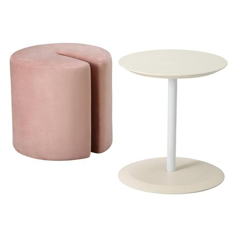 TUBO SIDE TABLE & STOOL WHITE X PINK