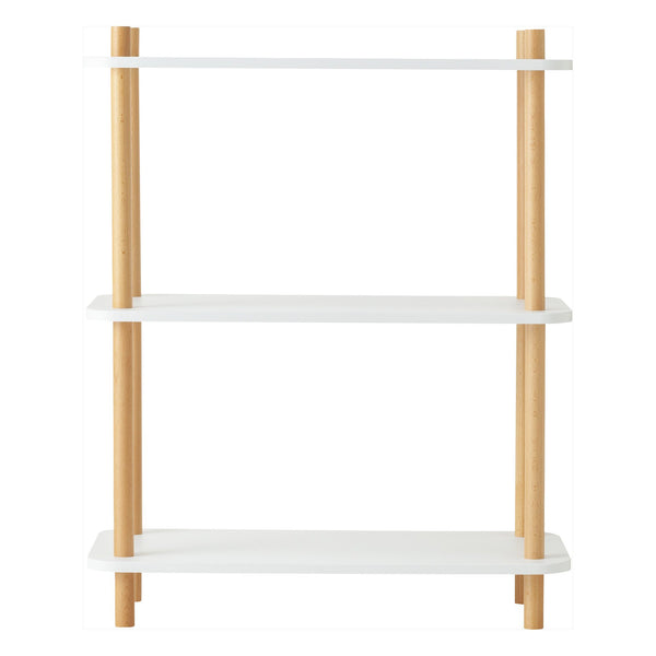 WOOD POLE SHELF 3 WHITE X NATURAL