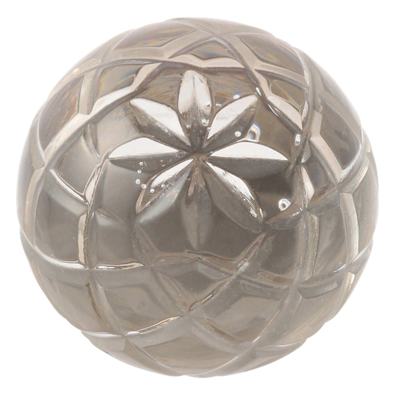 KNOB-17 GLASS FLORAL BALL CLEAR