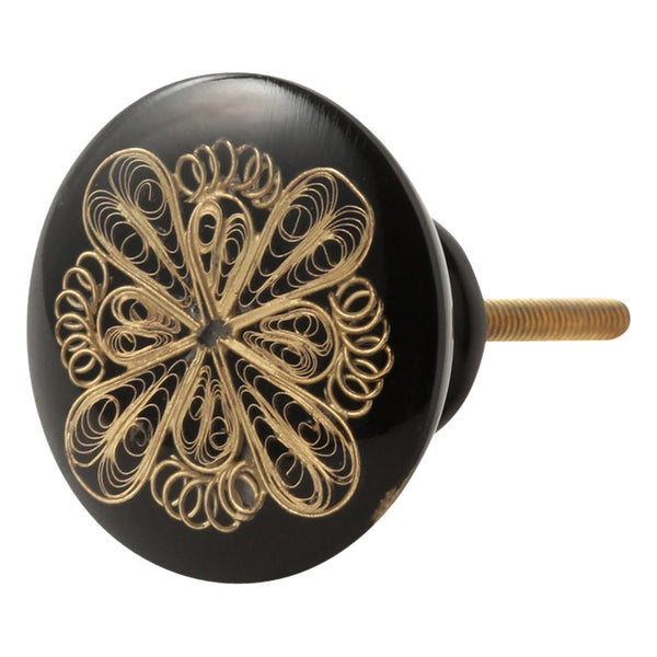 KNOB-17 FLOWER LACE GOLD X BLACK
