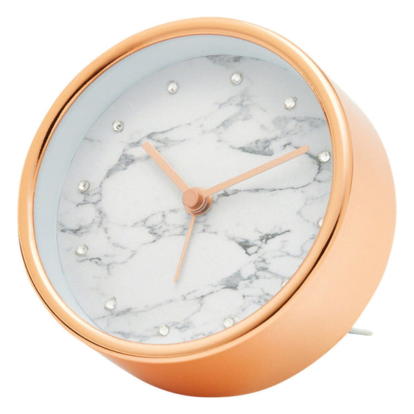 MARBLE TABLE CLOCK PINK GOLD