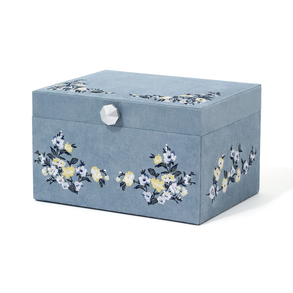 EMBROIDERY JEWELRY BOX LARGE BLUE