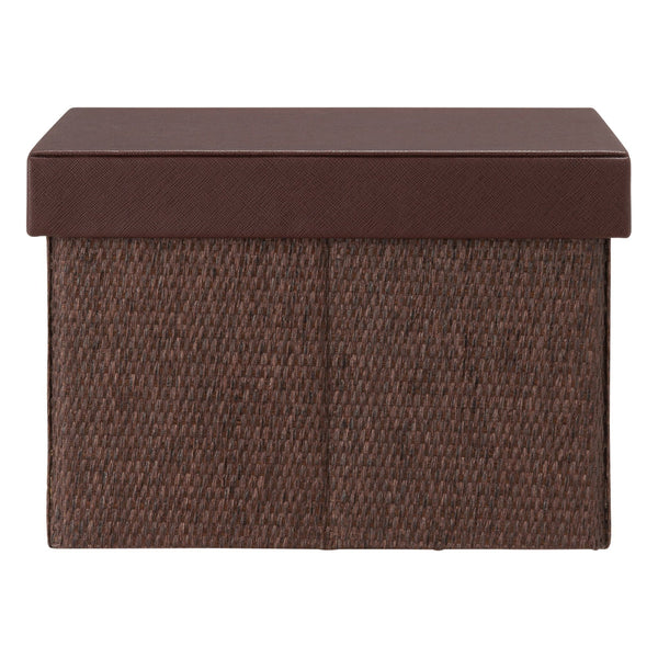 FABRIC FOLDING BOX SQUARE SMALL BROWN