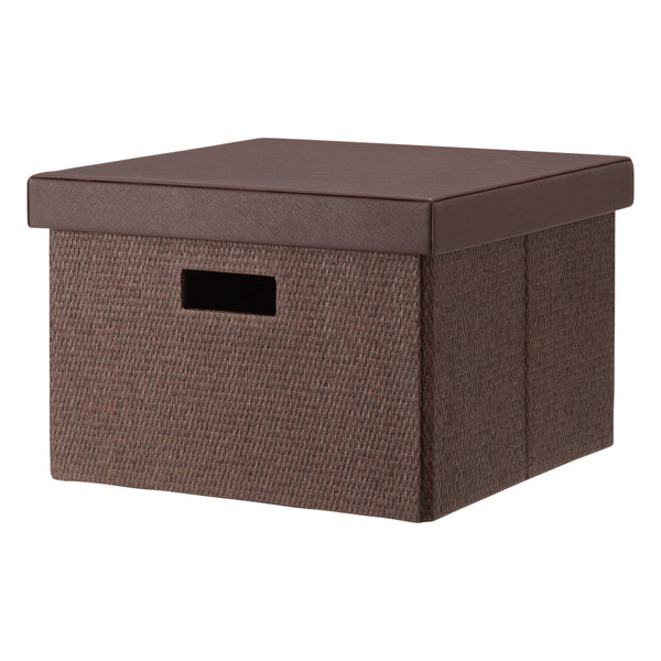 FABRIC Folding Box Square Medium Brown