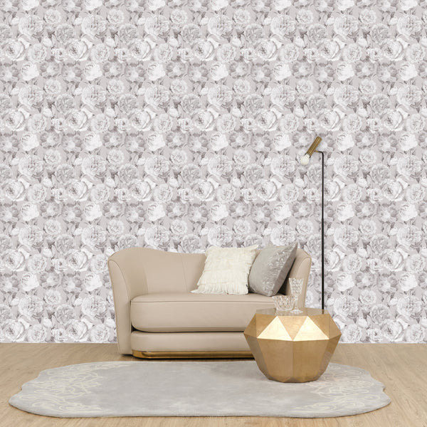 REMOVABLE WALL PAPER PEONY GRAY