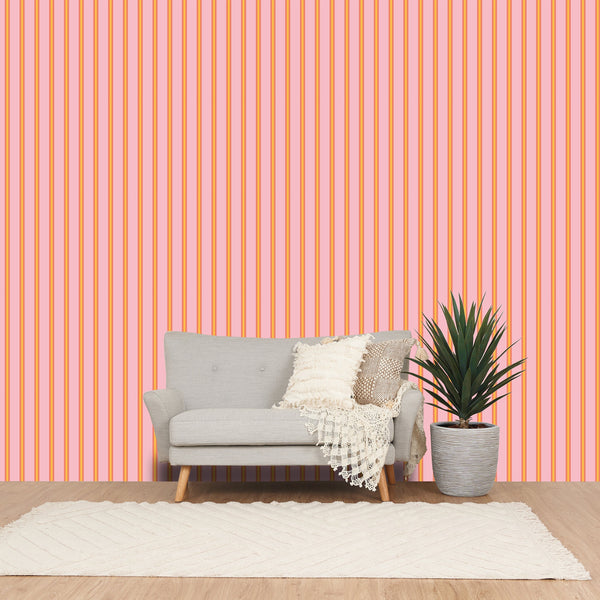 REMOVABLEWALLPAPER STRIPE Pink X Orange