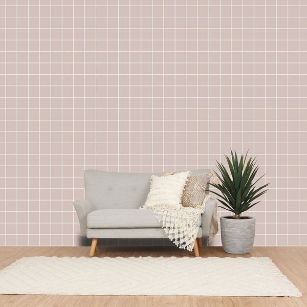 REMOVABLEWALLPAPER CHECK Beige