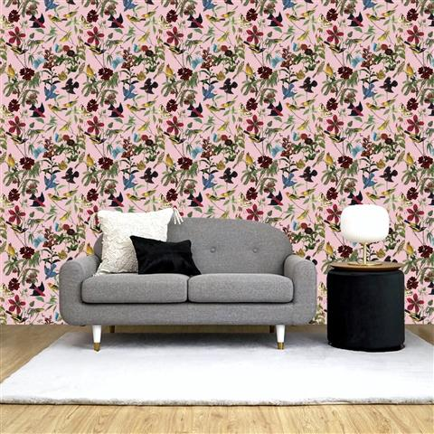 REMOVABLE Wall Paper Garden Pink