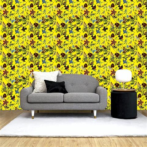 REMOVABLE WALL PAPER GARDEN YELLOW