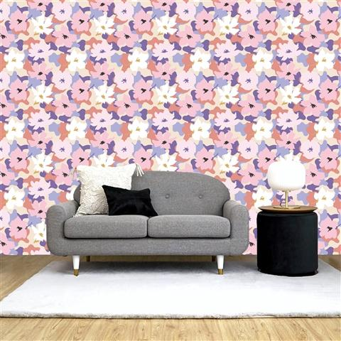 REMOVABLE Wall Paper Flower Pink