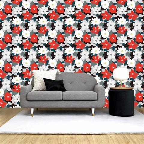 REMOVABLE Wall Paper Flower Black