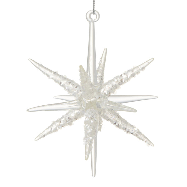 GLASS ORNAMENT SNOWFLAKE Clear