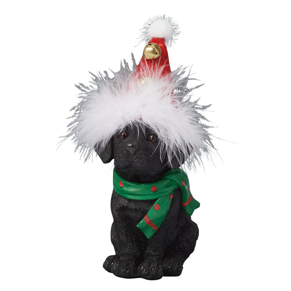 RESIN OBJET PARTY DOG SANTA