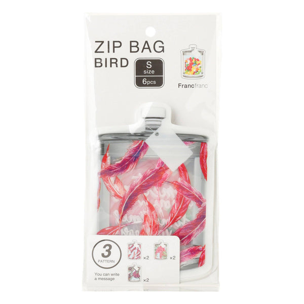 ZIP Bag S 6p Bird Pink
