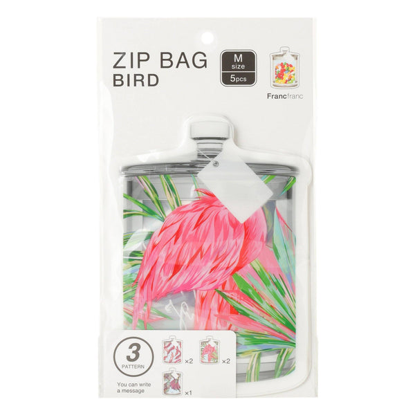 ZIP Bag M 5p Bird Pink