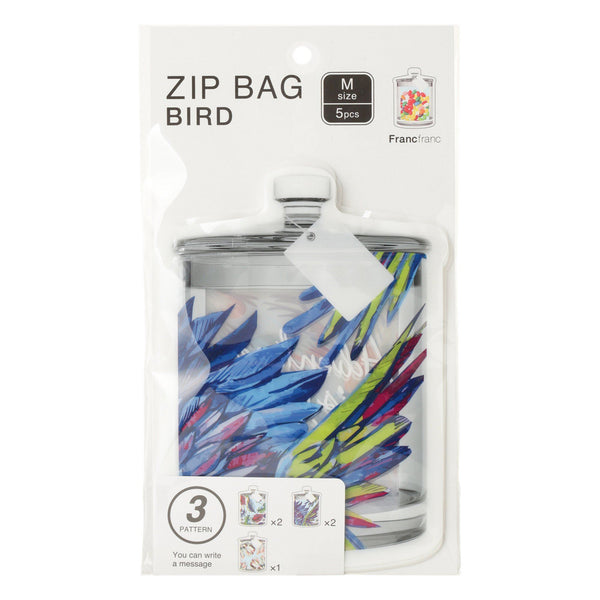 ZIP Bag M 5p Bird Blue