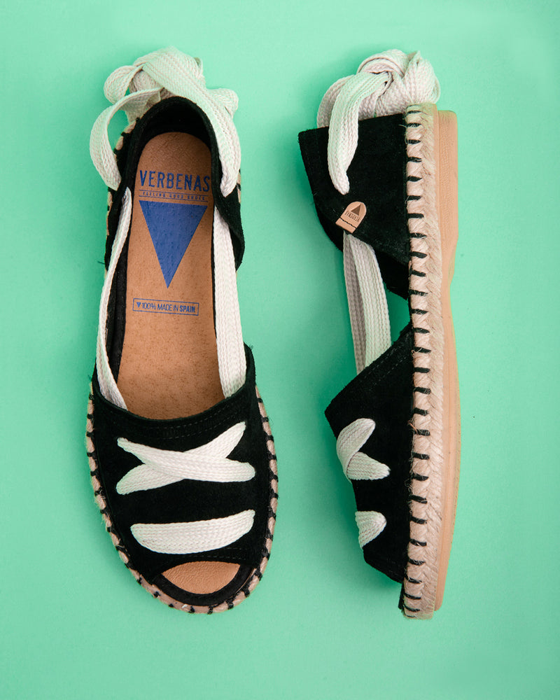 Abril Peep Toe Laced Flat - Black