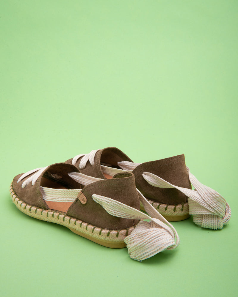Abril Peep Toe Laced Flat - Khaki