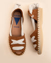 Olga Cross Strap Wedge Sandal - Natural