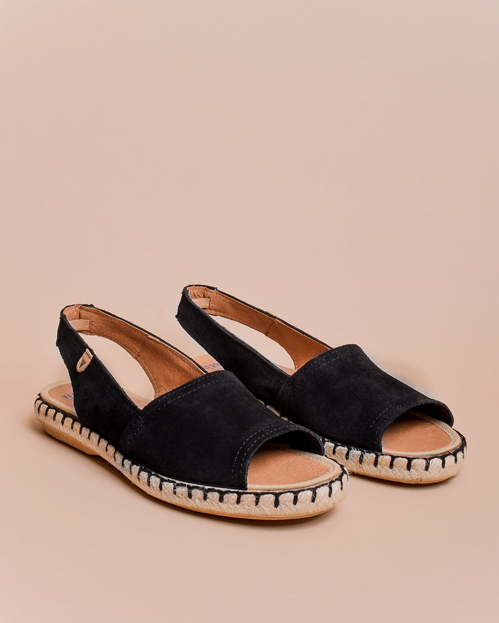 Aitana Suede Open Toe Slingback Sandals - Black - Verbenas USA