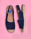 Bruna Suede Jute Wrapped Platform Loafers - Navy