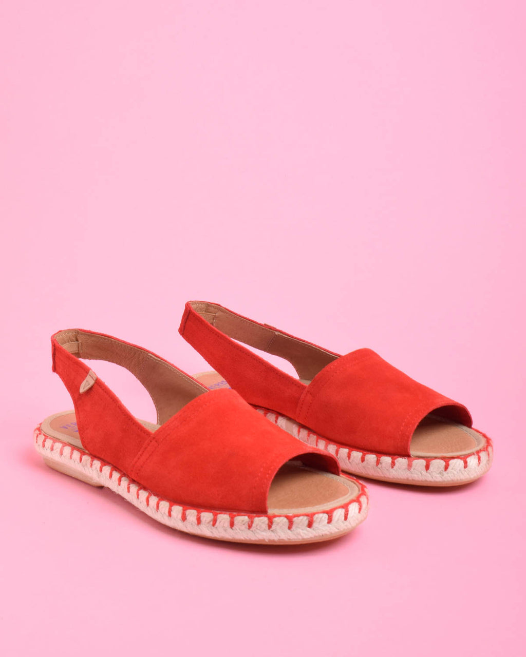 Aitana Suede Open Toe Slingback Sandals - Red