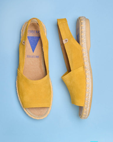 Rocio Ruffled Suede Slide - Yellow