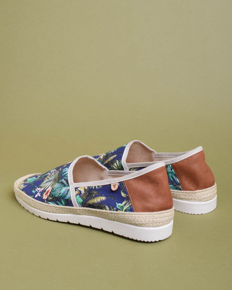 Barrie Printed Canvas Jute Wrapped Slip On Shoes - Navy - Verbenas USA