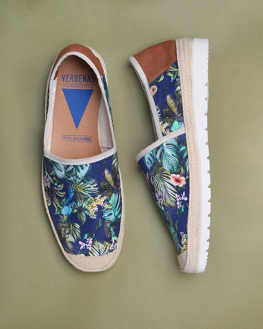 Blade Canvas Floral Print Slip On - Black