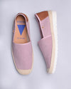 Bruna Suede Jute Wrapped Platform Loafers  - Pink