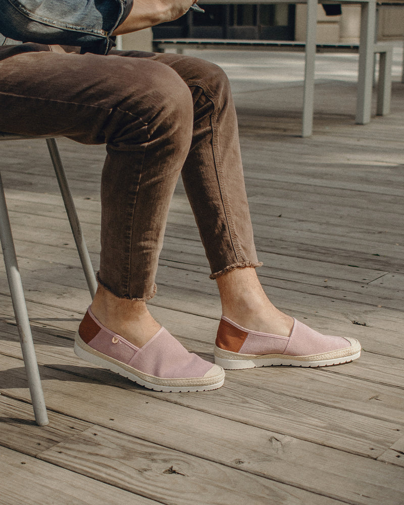 Barrie Washed Canvas Jute Wrapped Slip On Shoes - Pink - Verbenas USA