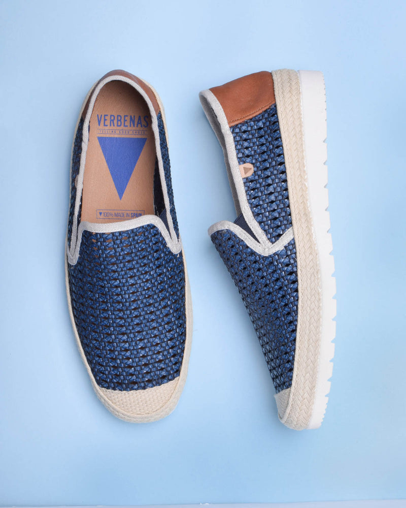 Blade Woven Leather Loafers - Navy - Verbenas USA