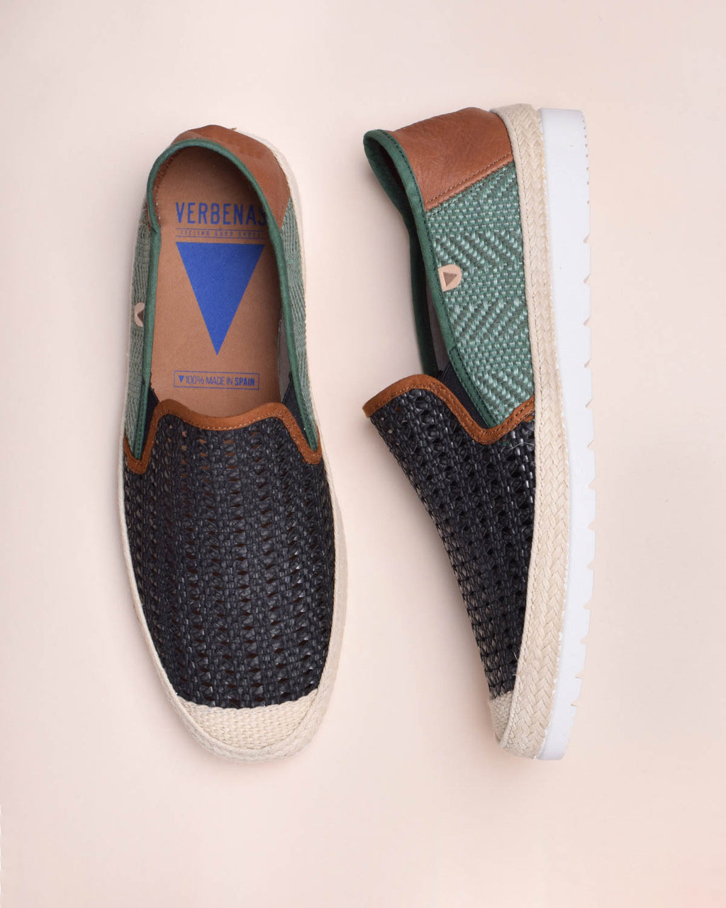 Blade Woven Leather Loafers - Black / Green - Verbenas USA