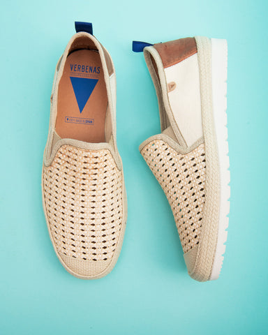 Travis Canvas Jute Wrapped Slip On Shoes - Beige
