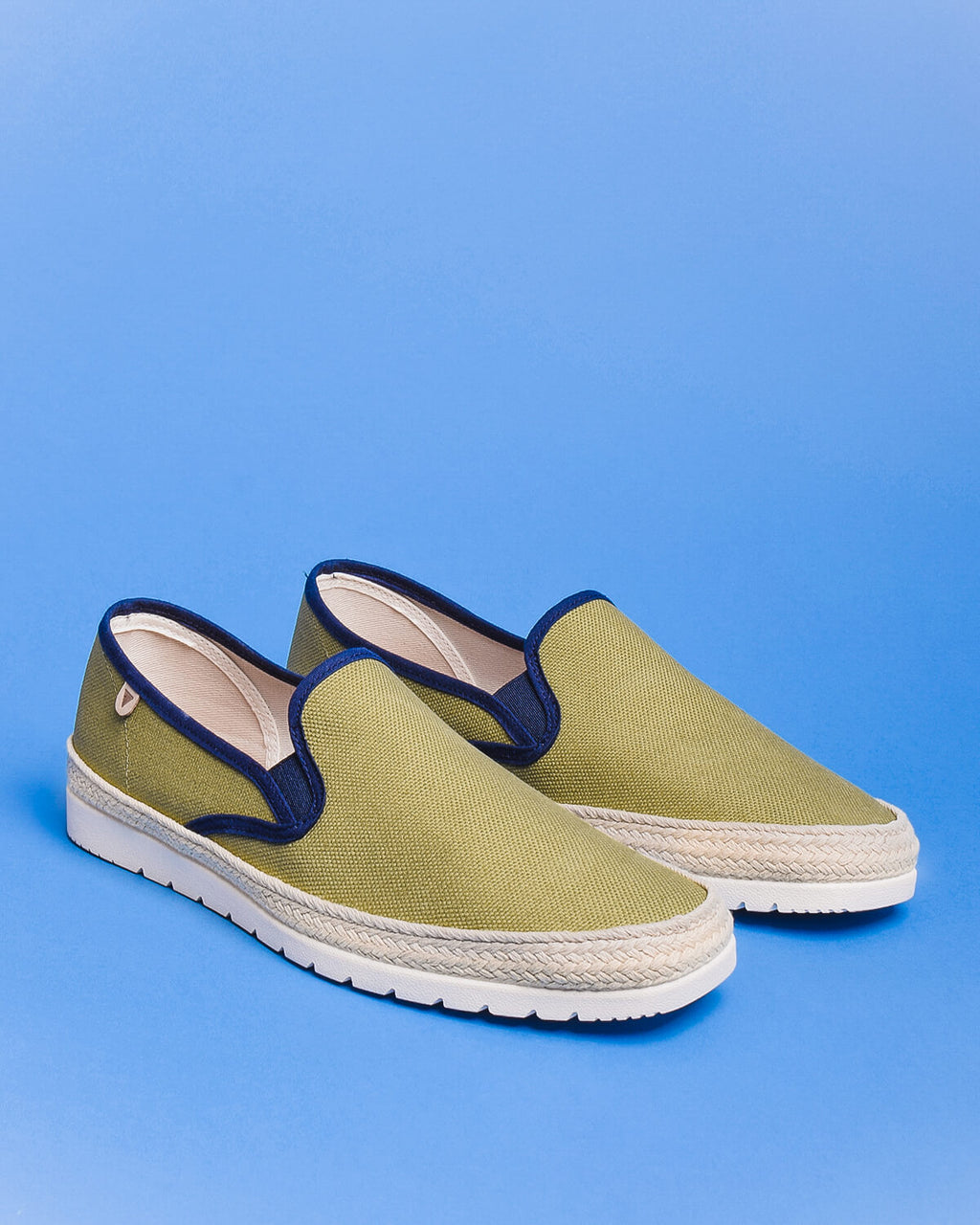 Boris Paris Canvas Slip On Sneakers - Khaki / Green