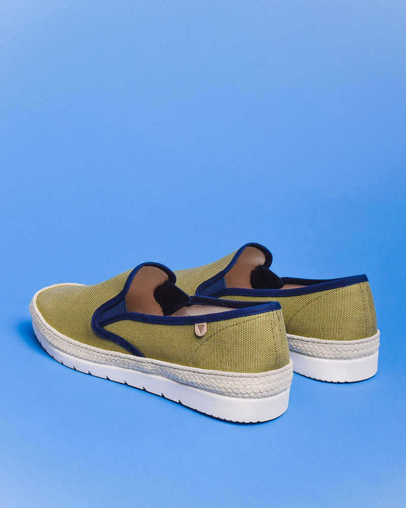 Boris Paris Canvas Slip On Sneakers - Khaki / Green - Verbenas USA