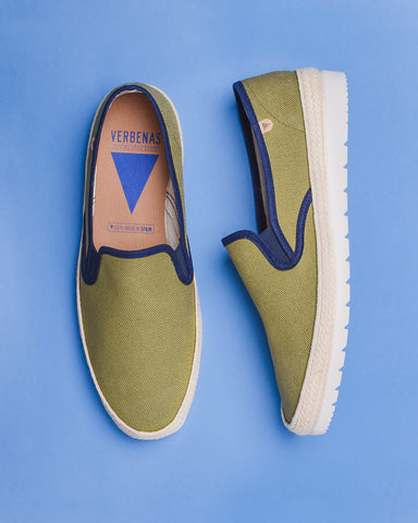 Trevor Chevron Canvas Slip On Shoes - Green