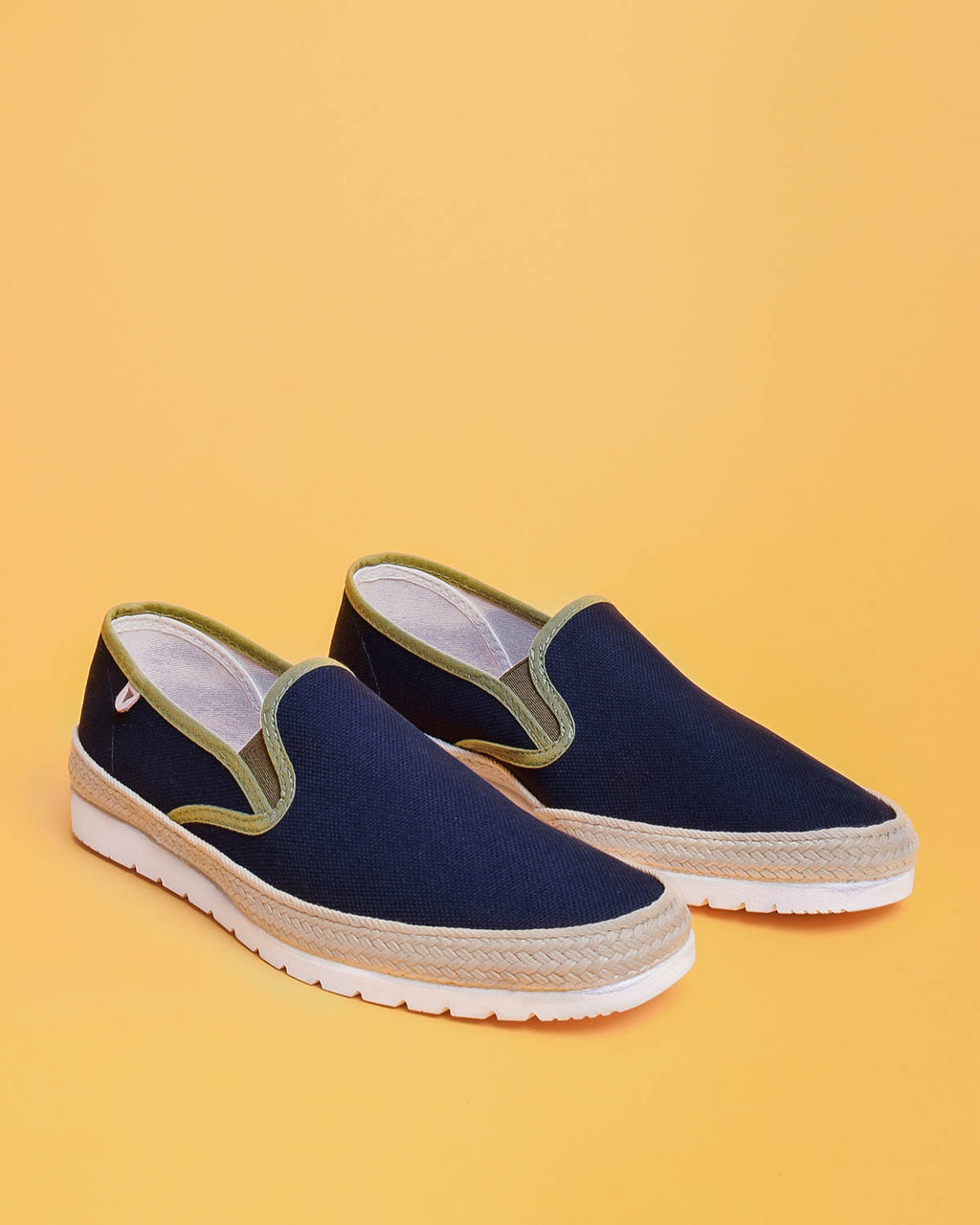 Boris Paris Canvas Slip On Sneakers - Navy / Khaki
