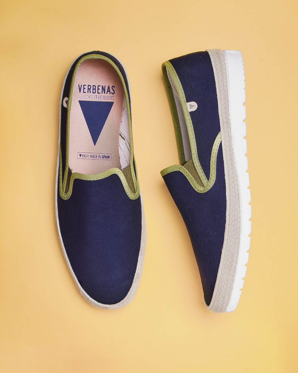 Boris Paris Canvas Slip On Sneakers - Navy / Khaki - Verbenas USA