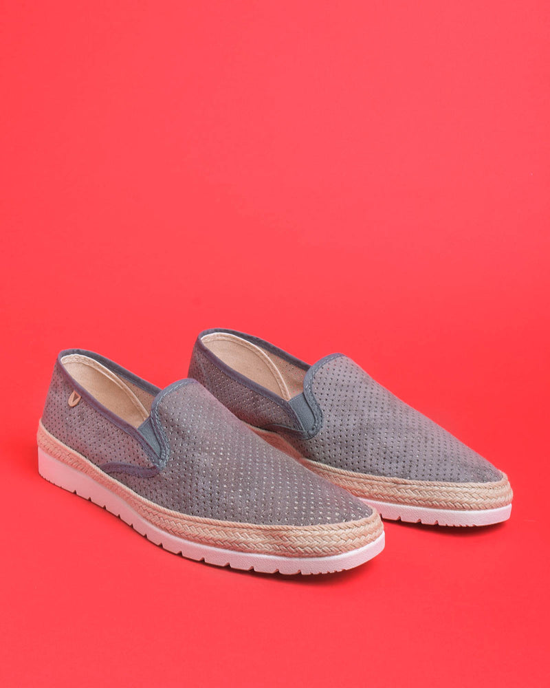 Boris Perforated Suede Jute Wrapped Loafers - Grey
