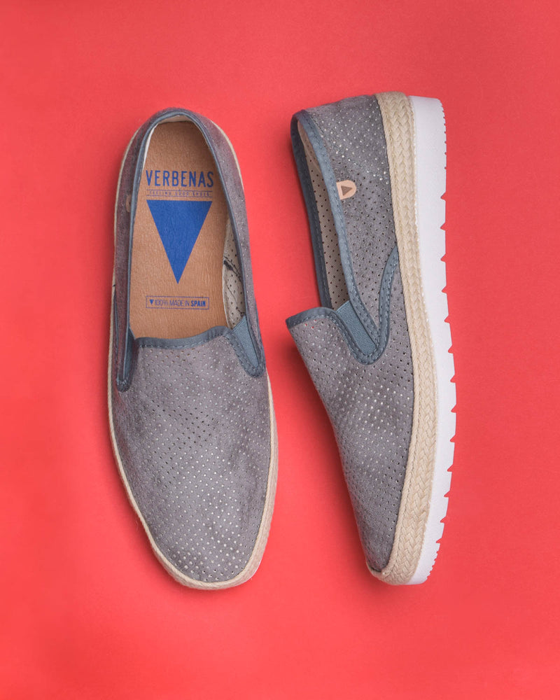 Boris Perforated Suede Jute Wrapped Loafers - Grey - Verbenas USA
