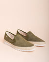 Boris Perforated Suede Jute Wrapped Loafers - Khaki / Green - Verbenas USA
