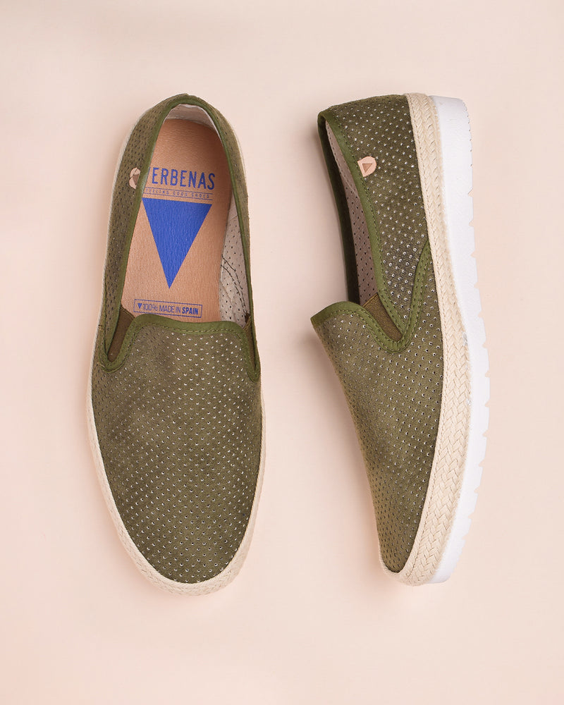 Boris Perforated Suede Jute Wrapped Loafers - Khaki / Green