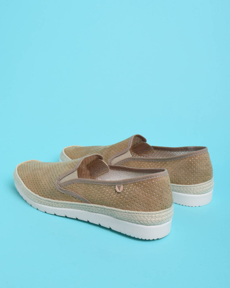 Boris Perforated Suede Jute Wrapped Loafers - Khaki - Verbenas USA