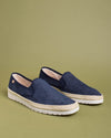 Boris Perforated Suede Jute Wrapped Loafers - Navy - Verbenas USA